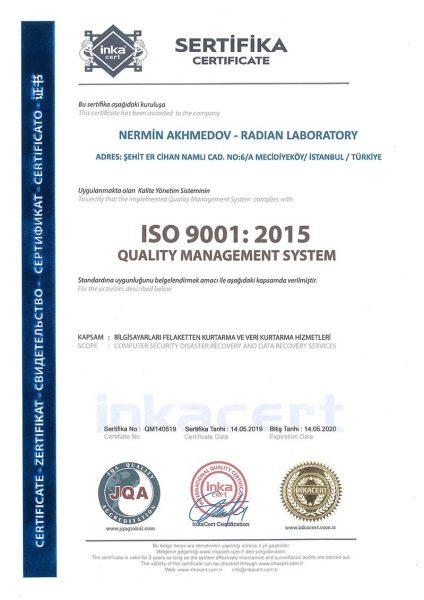 ISO 9001 Belgemiz mevcuttur