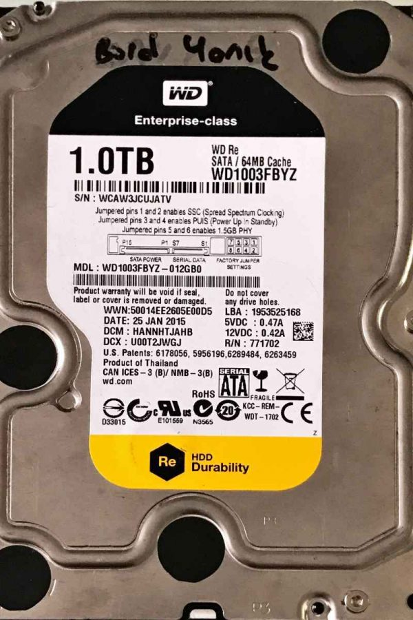 WESTERN DIGITAL 1000 GB WD1003FBYZ 2060701477002 REV-A