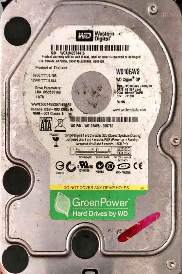 WESTERN DIGITAL 1000 GB WD10EAVS 2060701537004 REV-A
