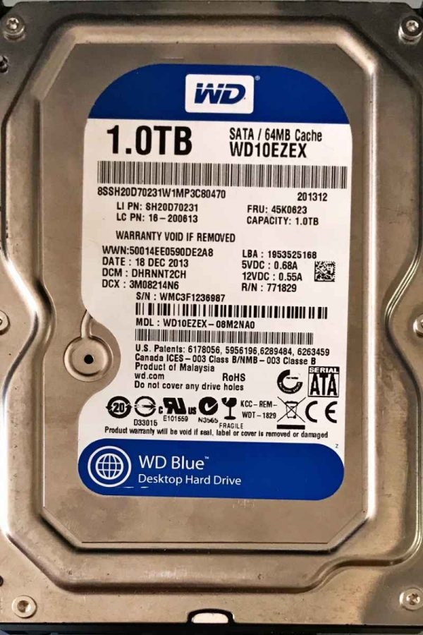 WESTERN DIGITAL 1000 GB WD10EZEX-08M2NA0 2060701640002 REV-A