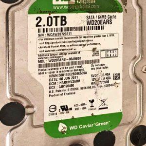 WESTERN DIGITAL 2000 GB WD20EARS-00J990 2000771698002 REV-P1
