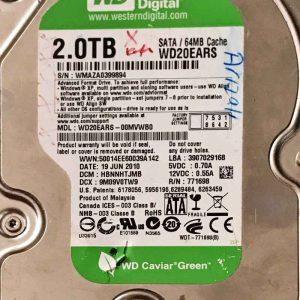 WESTERN DIGITAL 2000 GB WD20EARS-00MVWB0 2060771698004 REV-A