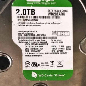 WESTERN DIGITAL 2000 GB WD20EARX-00PASB0 2060771698002 REV-P1
