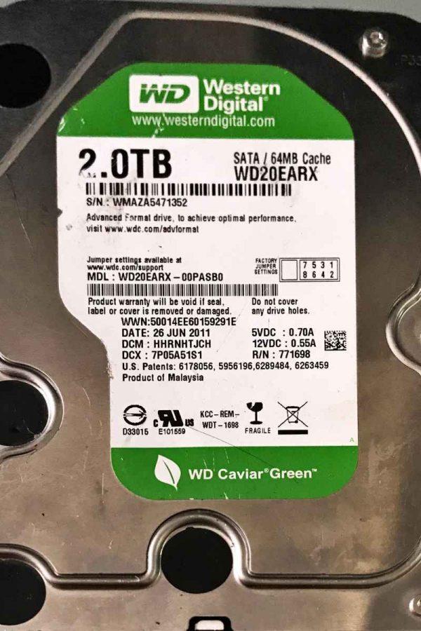 WESTERN DIGITAL 2000 GB WD20EARX-00PASB0 2060771698002 REV-P1