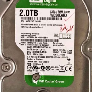 WESTERN DIGITAL 2000 GB WD20EARX 2060701640 REV-A