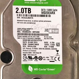 WESTERN DIGITAL 2000 GB WD20EARX 2060771698004 REV-A