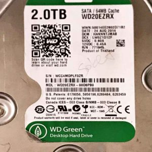 WESTERN DIGITAL 2000 GB WD20EZRX-00D89B0 2060771640002 REV-A