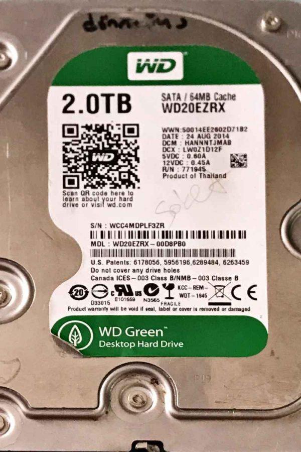 WESTERN DIGITAL 2000 GB WD20EZRX-00D89B0 2060771640002 REV-A