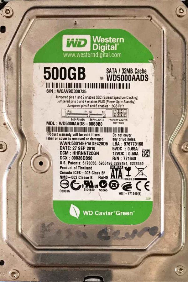 WESTERN DIGITAL 2000 GB WD5000AADS-00S9B0 2000771698002 REV-P1