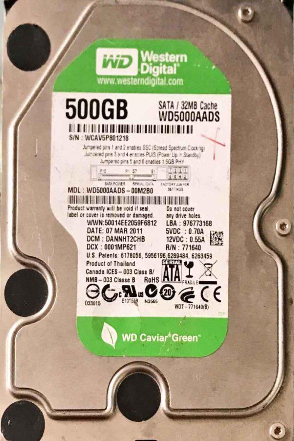 WESTERN DIGITAL 2000 GB WD500AADS-00M2B0 2060771640003 REV-A