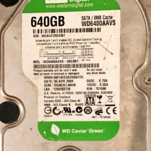WESTERN DIGITAL 2000 GB WD6400AAVS-00G9B1 2000771698002 REV-P1