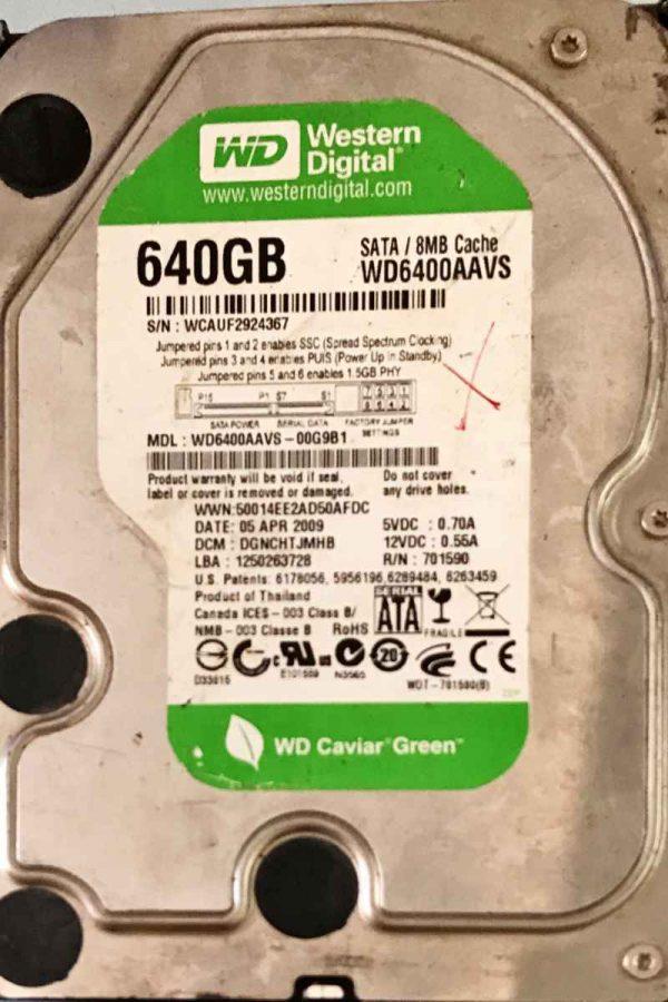 WESTERN DIGITAL 2000 GB WD6400AAVS-00G9B1 2000771698002 REV-P1