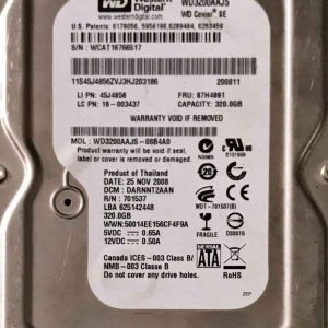 WESTERN DIGITAL 320 GB WD3200AAJS 2060701537003 REV-A