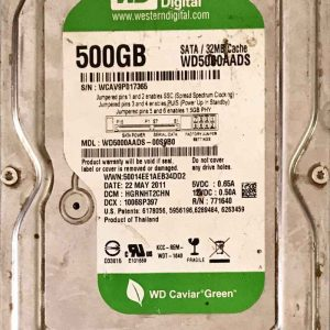 WESTERN DIGITAL 500 GB WD5000AADS-00S9B0 2000771698002 REV-A