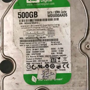 WESTERN DIGITAL 500 GB WD5000AADS 2060701590000 REV-A