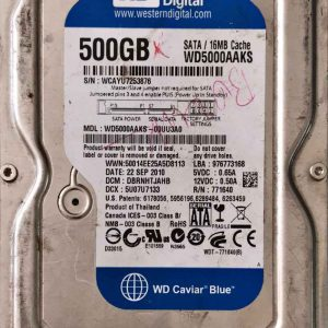 WESTERN DIGITAL 500 GB WD5000AAKS 2060771640003 REV-P1
