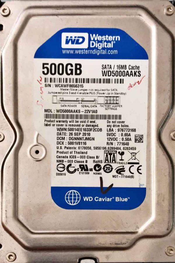 WESTERN DIGITAL 500 GB WD5000AAKS 2060771640003 REV-P1