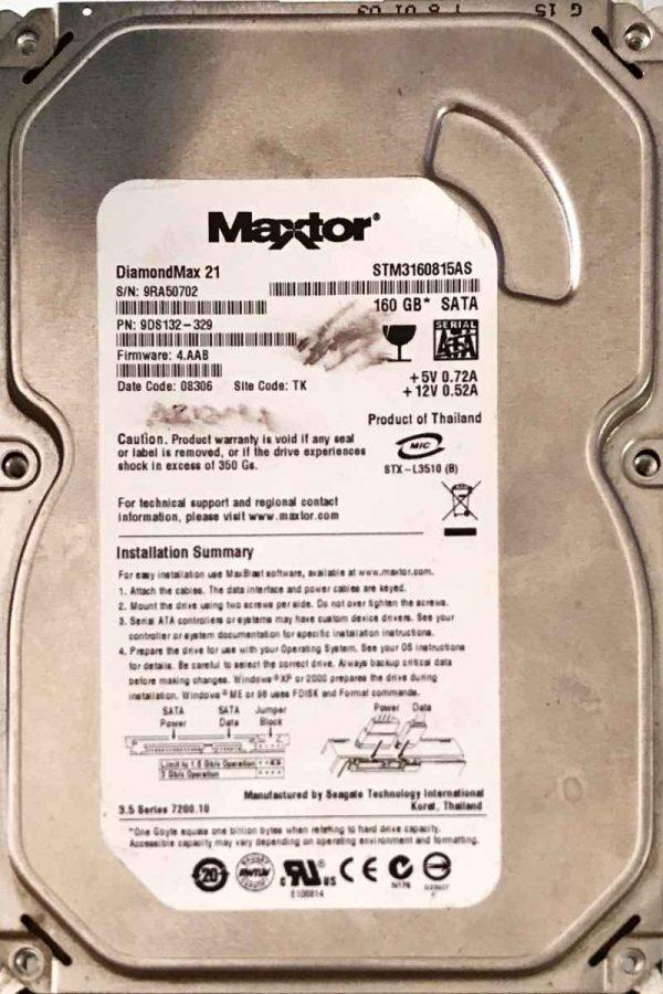 MAXTOR 160 GB STM3160815AS 100470387 REV-B