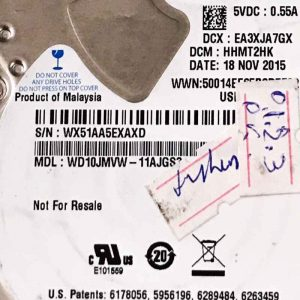 WESTERN DIGITAL 1000 GB WD10JMVW 2060771960000 REV-A
