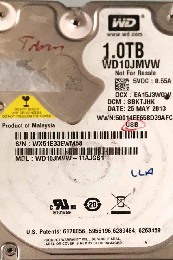 WESTERN DIGITAL 1000 GB WD10JNMVW 2060771961001 REV-A