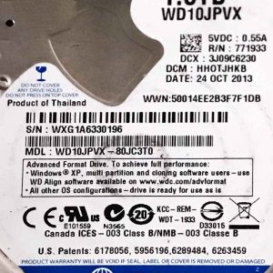 WESTERN DIGITAL 1000 GB WD10JPVX 2060771960000 REV-P2
