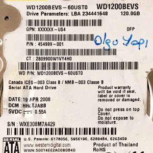 WESTERN DIGITAL 120 GB WD1200BEVS 2060701499000 REV-A