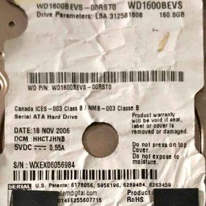 WESTERN DIGITAL 160 GB WD1600BEVS 2060701450005 REV-A