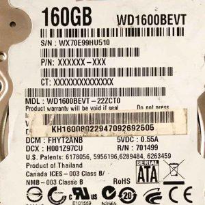 WESTERN DIGITAL 160 GB WD1600BEVT 2060701499005 REV-A