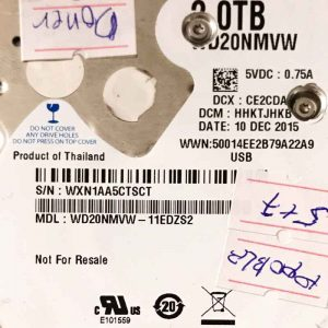 WESTERN DIGITAL 2000 GB WD20NMVW 2060771961001 REV-B