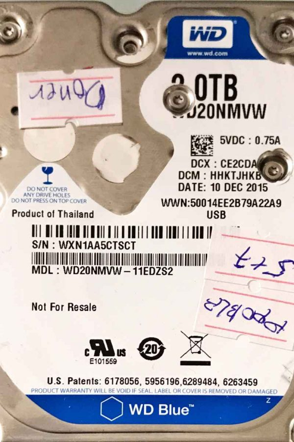 WESTERN DIGITAL 2000 GB WD20NMVW 2060771961001 REV-B