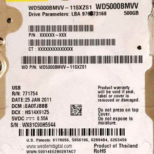 WESTERN DIGITAL 500 GB WD5000BMVV 2060771754000 REV-P1