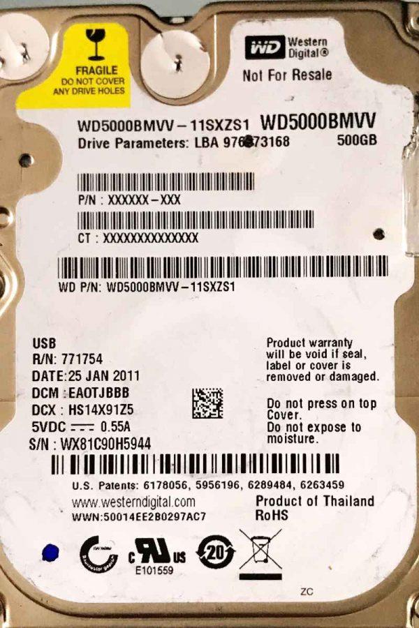 WESTERN DIGITAL 500 GB WD5000BMVV 2060771754000 REV-P1