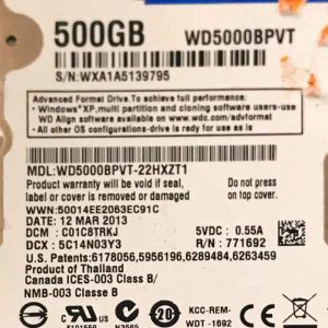 WESTERN DIGITAL 500 GB WD5000BPVT 2060771820000 REV-P1