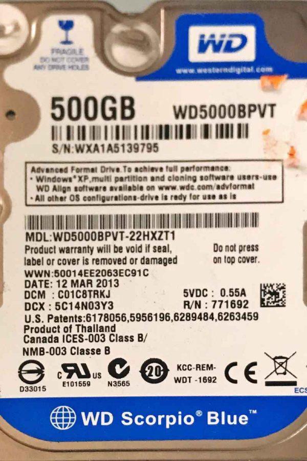 WESTERN DIGITAL 500 GB WD5000BPVT 2060771820000 REV-P1