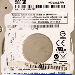 WESTERN DIGITAL 500 GB WD5000LPVX 2060771959000 REV-P2