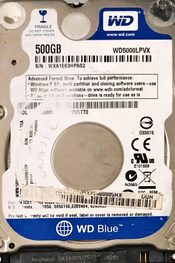 WESTERN DIGITAL 500 GB WD5000LPVX 2060771959000 REV-P2
