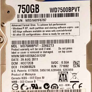 WESTERN DIGITAL 750 GB WD7500BPVT 2060771820000 REV-P1