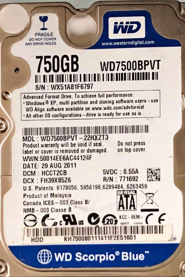 WESTERN DIGITAL 750 GB WD7500BPVT 2060771820000 REV-P1