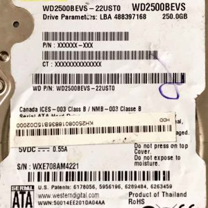 WESTERN DIGITAL 250 GB WD2500BEVS 2060701499000 REV-A
