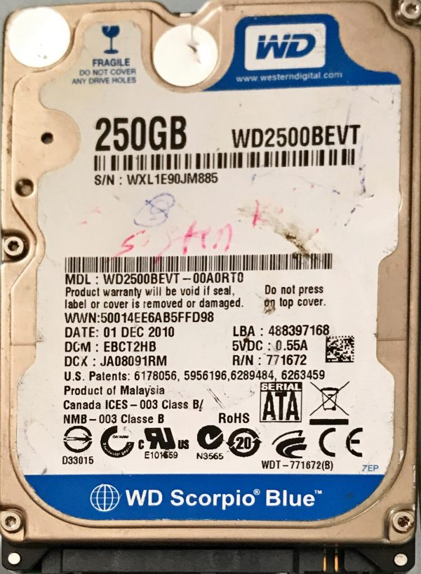 WESTERN DIGITAL 250 GB WD2500BEVT 2060771672004