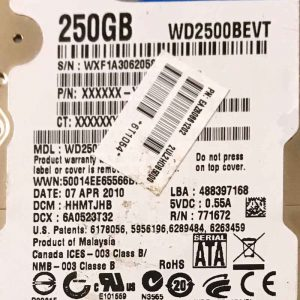 WESTERN DIGITAL 250 GB WD2500BEVT 2060771672004 REV-A