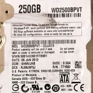 WESTERN DIGITAL 250 GB WD2500BPVT 2060771820000