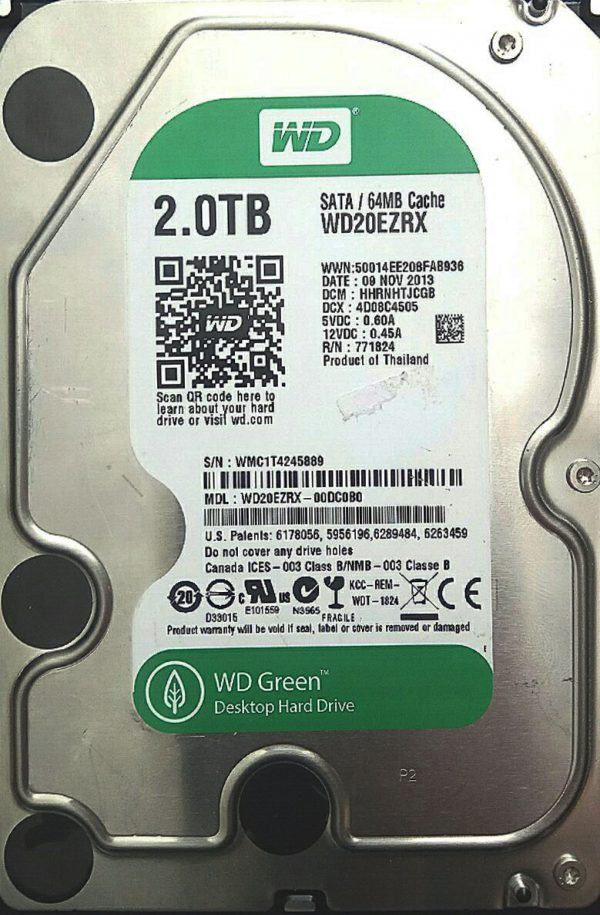 WESTERN DIGITAL 2TB WD20ERZX REV A 2060-771824-003