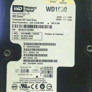 WESTERN DIGITAL 160GB WD1600 REV A 2060-701266-001