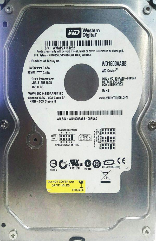 WESTERN DIGITAL 160GB WD1600AABB REV B 2060-701494-002
